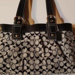 COACH Black Gray Signature Jacquard Fabric Pleated